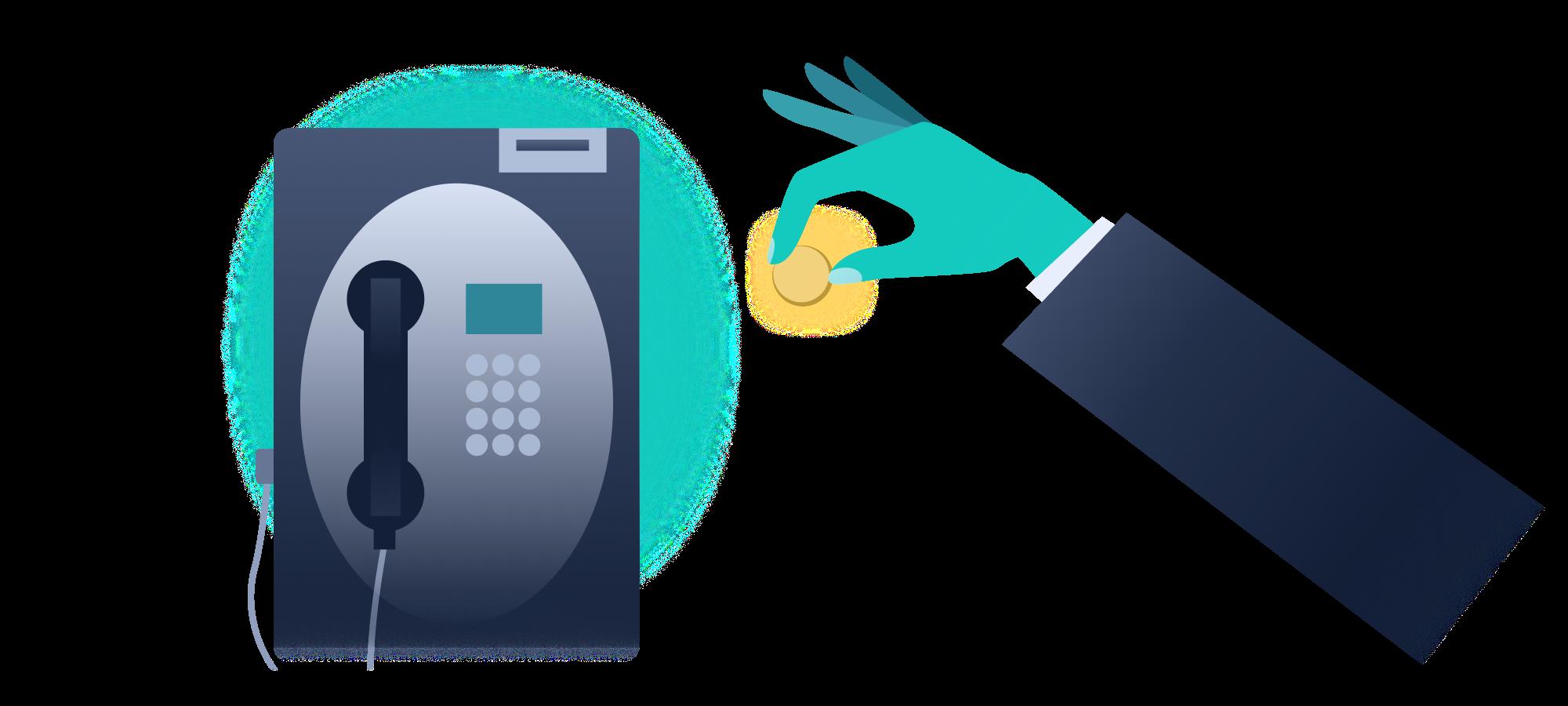 Münzeinwurf für ein Telefongespräch